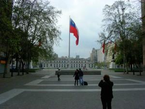 La Moneda and Paseo Bulnes, Santiago, during the Fiestas Patrias