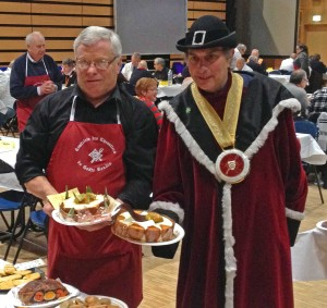 The Grand Maître, right, and master boudin-maker Jacques Guisembert